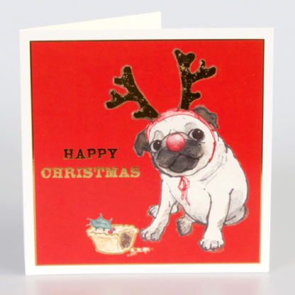 Reindeer Pug Christmas Cards