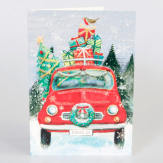 Retro Car with Presents Christmas Cards