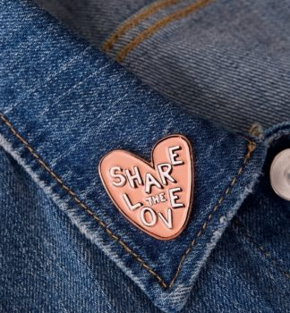 Share the love badge on a demin jacket