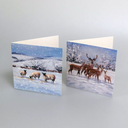Snowy Deer and Sheep