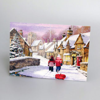 Winter Village Scene Christmas Cards