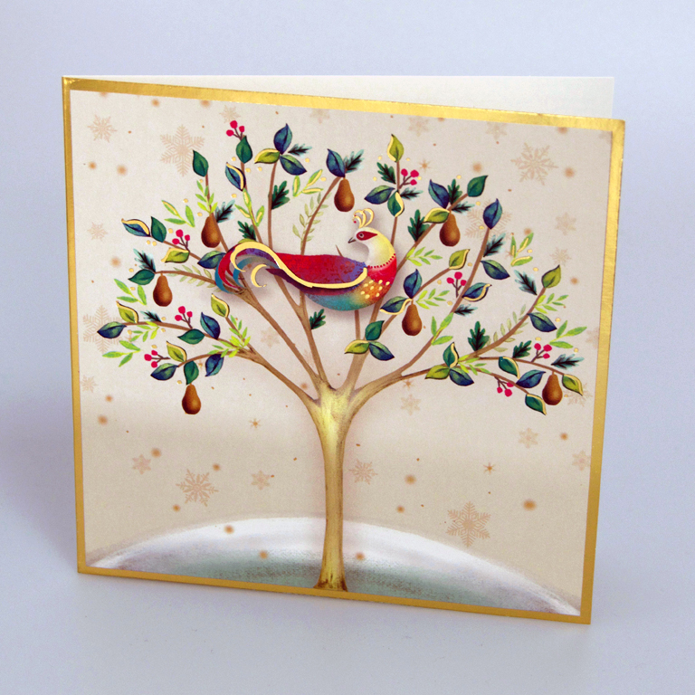 Christmas Cards Images.Cream Partridge In A Pear Tree Christmas Cards