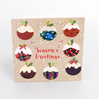 Tartan Christmas Puddings Christmas Cards