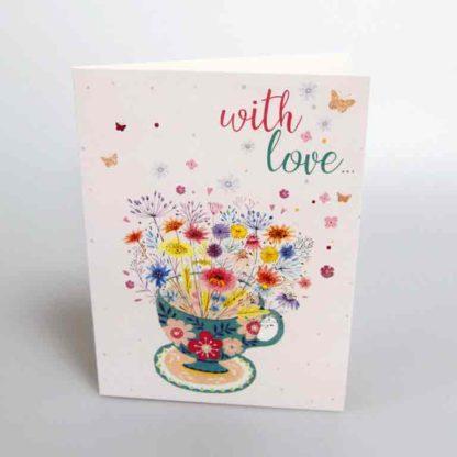 Flower Tea Cup Greeting Card