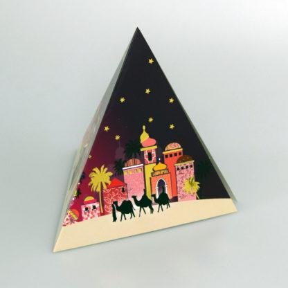 Nativity Scene in a pyramid shaped card
