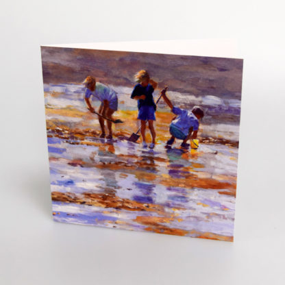 Children at the seaside greeting card