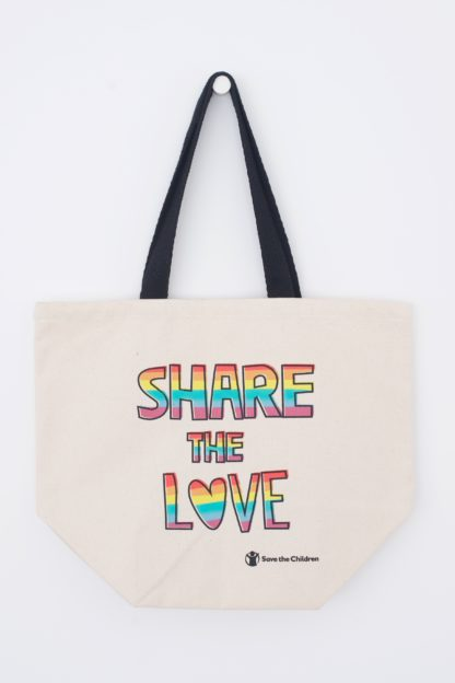 Share the love Pride tote bag