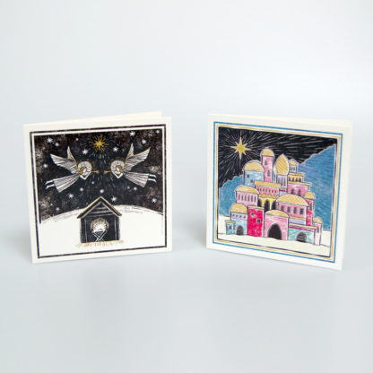 Bethlehem and Angels Christmas Card