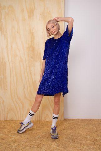 Vintage sequin dress in blue