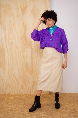 Vintage Leather Skirt in Beige