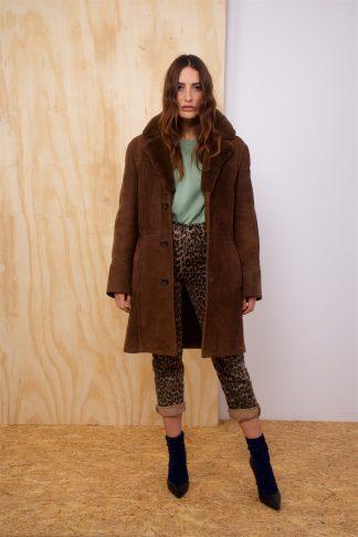 Vintage Sheepskin coat in dark brown