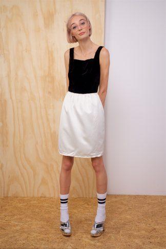 Vintage dress with black velvet top and white skirt
